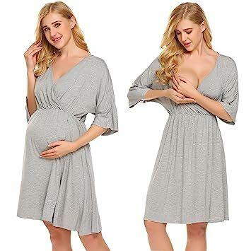 306dc2e3386 Ekouaer Hospital Nightgown Womens Short Sleeve Maternity Nursing  Sleepwear