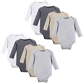 1335c0b3bb0a Hudson Baby Unisex Baby Long Sleeve Cotton Bodysuits, Heather Gray Long  Sleeve 8 Pack, 6-9 Months (9M)