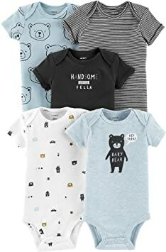 663642976 Carter's Baby Boys' 5-Pack Short-Sleeve Original Bodysuits (Blue Bear,  Newborn)
