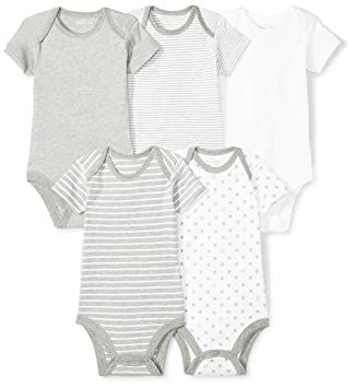 7b2a4b3961b Moon and Back Baby Set of 5 Organic Short-Sleeve Bodysuits