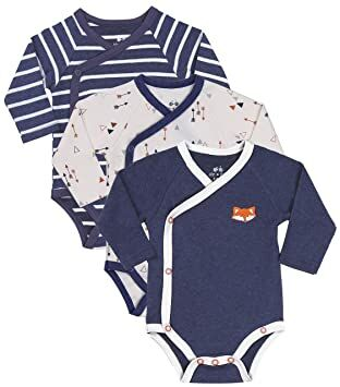 777810669 Baby Boy 3-Piece Long-Sleeve Kimono Onesie, Size Newborn 0-3 Month, Gift  Boy Bundle Includes Blue Fox Onesie, Arrow Bodysuit and Navy-Stripes Infant  Boy ...