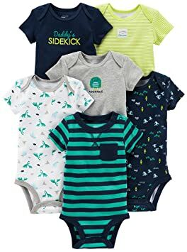 8bef1990f Simple Joys by Carter's Baby Boys 6-Pack Short-Sleeve Bodysuit,  Navy/Turquoise, 0-3 Months