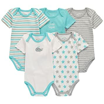 fc46aca53 Wan-A-Beez 5 Pack Baby Girls' and Boys' Newborn and Infant Cotton Short  Sleeve Bodysuits (0-3 Months, Whale)