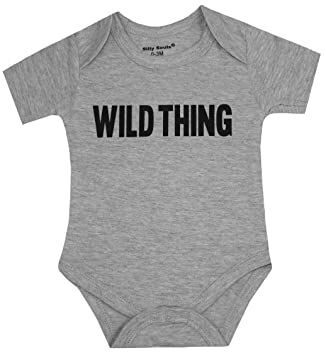 248474fe3 Silly Souls, Inc Wild Thing Unisex Toddler Baby Cotton Onesie, Grey 0-3  Months