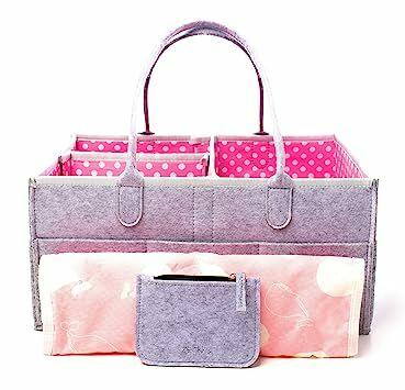 Large Portable Baby Diaper Caddy Organizer With Bonus Changing Pad   Wallet  – Cute Polka Dots e5da298357afa