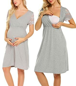 253817c3bf5 MAXMODA Women s Maternity Lingerie Home Clothes for Pregnant Breastfeeding  Hospital Gown (Gray