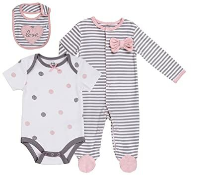 47a6190af1 Baby Girls  Layette Sets 3-Piece Footed Long-Sleeve Pajama