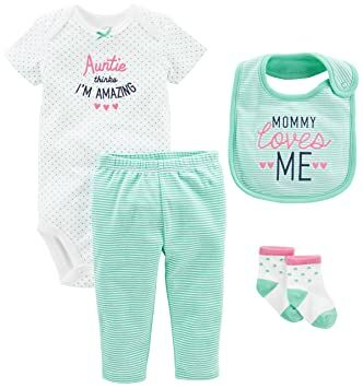 686717d4a Simple Joys by Carter's Baby Girls' 4-Piece Bodysuit, Pant, Bib and Sock  Set, Mint Auntie, 3-6 Months