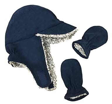 108747a8cfe N Ice Caps Little Boys and Baby Sherpa Lined Fleece Flap Hat Mitten Winter  Set (Navy Grey Mix Sherpa Infant