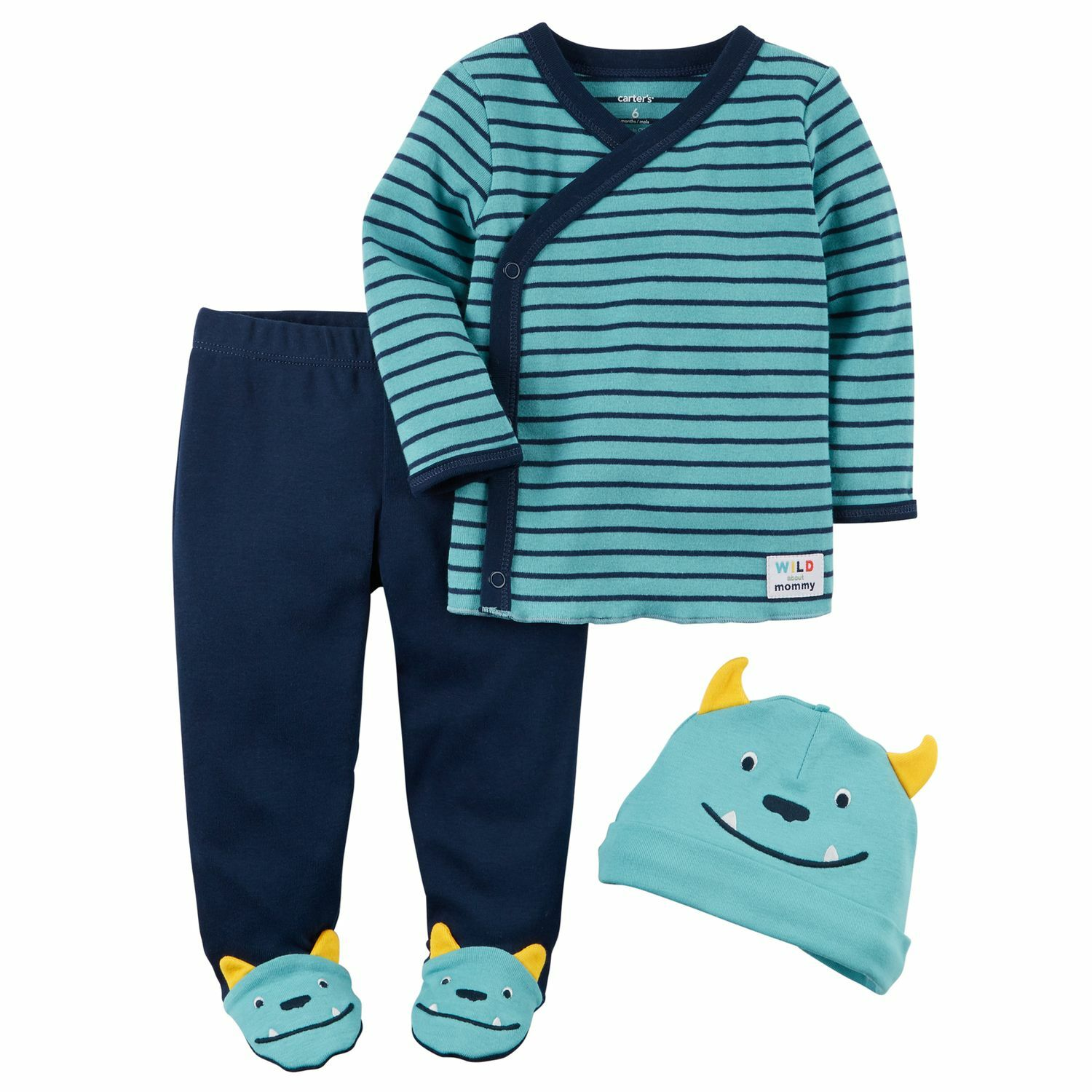 bb2aaa2bd Baby Boy Carter's Babysoft Striped Tee, Monster Footed Pants & Hat Set