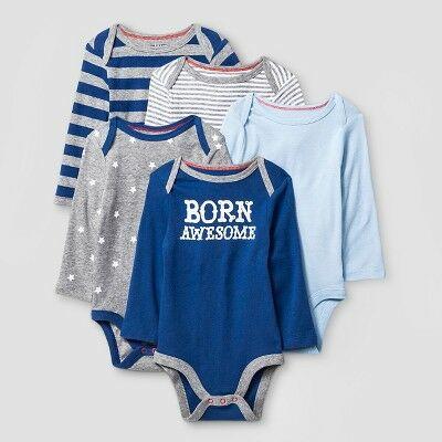f3510260f Baby Boys  Long Sleeve 5 Pack Bodysuit Cat   Jack™ - Navy Heather Gray