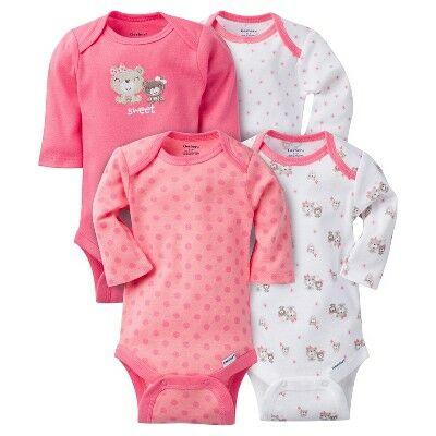 813a4390c Gerber® Baby Girls' 4pk Long Sleeve Bear Onesies - Pink 3-6M