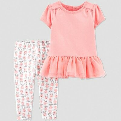1fd1b4a94bb38 Baby Girls' 2pc Bunny Pant Set - Just One You® made by carter's Peach/White  3M