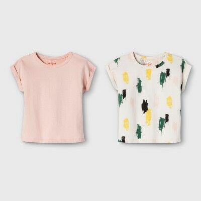 373f1ad5fd4bf Toddler Girls  2pk Short Sleeve T-Shirts - Cat   Jack™ Just Peachy Print 3T