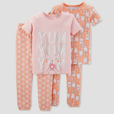 9f391f1242a7 Baby Girls  4pc Cotton Bunnies Pajama Set - Just One You® made by carter s  Peach 9M