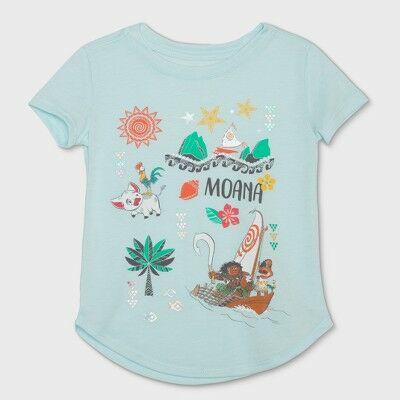 6acae086 Toddler Girls' Disney Moana Short Sleeve T-Shirt - Ice Blue 4T
