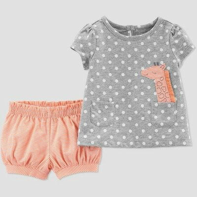 f23cd391e Toddler Girls' 2pc Dots Giraffe Top And Bottom Set - Just One You® made by  carter's Gray/Peach 3T