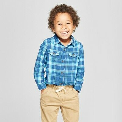 32ce033f2d Toddler Boys  Long Sleeve Plaid Button-Down Shirt - Cat   Jack™ Teal 12M