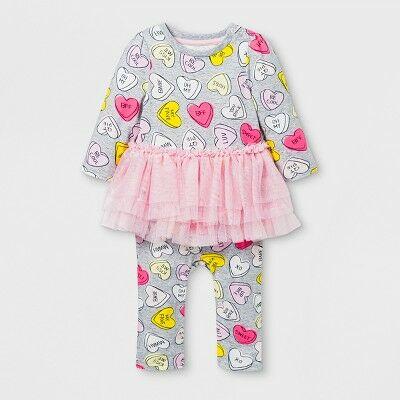7c0750471 Baby Girls' Long Sleeve Conversation Hearts Tutu Romper - Cat & Jack™ Gray/Pink  Newborn