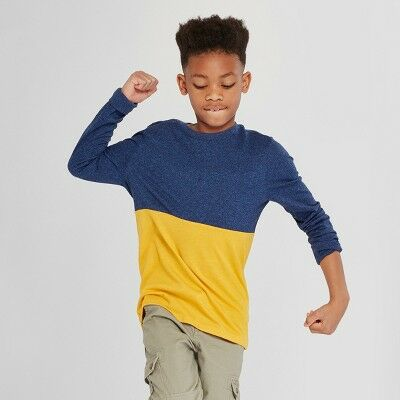 cccf3d7c Boys' Long Sleeve T-Shirt - Cat & Jack™ Navy/Yellow S
