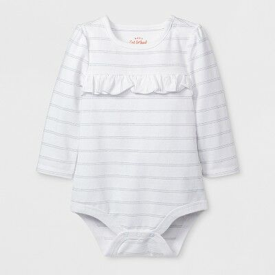 a67221f01 Baby Girls  Long Sleeve Ruffle Bodysuit - Cat   Jack™ White 3-6M