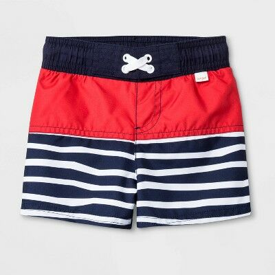 d3ee42038a Baby Boys' Stripe Colorblock Swim Trunks - Cat & Jack™ Navy 12M