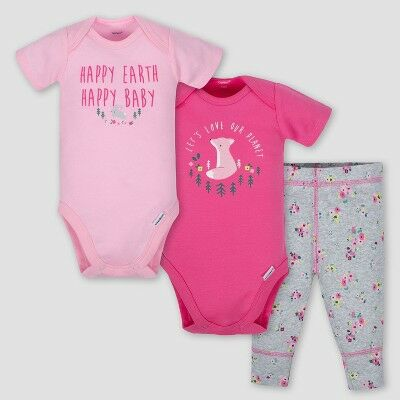 3a3375abe Gerber Baby Girls' 3pc Happy Earth Onesies Bodysuit and Pant Set - Pink/Heather  Gray 0-3M