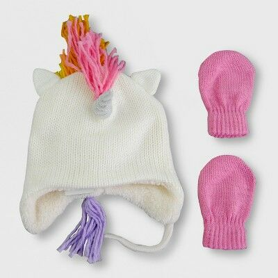 8f1f7691f8f Toddler Girls  Knit Unicorn Hat and Mitten Set - Cat   Jack™ Cream Pink 12- 24M