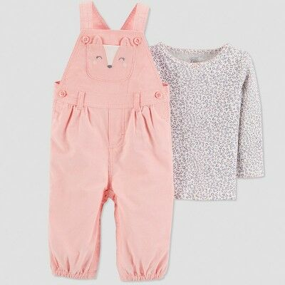 567e5cc1b3816 Baby Girls' 2pc Fox Overall Set - Just One You® made by carter's Peach 6M