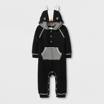 7ee7fcf8e Baby Boys' Lightweight French Terry Critter Hooded Romper with Kangaroo  Pocket - Cat & Jack™ Black 0-3M