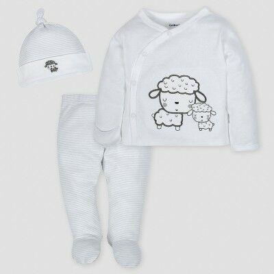 9b3e08900b09 Gerber Baby Sheep 3pc Side-Snap Shirt, Footed Pants and Cap Set - Gray 0-3M