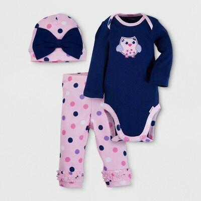 b117e205f Gerber® Baby Girls' Owl 3pc Long Sleeve Onesies® Bodysuit, Pants and Hat  Set - Blue 0-3M