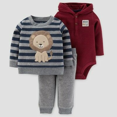 fb27447e4d47 Baby Boys  3pc Fleece Stripe Lion Set - Just One You™ Made by Carter s®  Gray NB