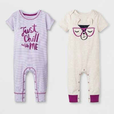 8c48dd993fbd93 Baby Girls  2pk Short Sleeve Romper - Cat   Jack™ Purple 0-3M