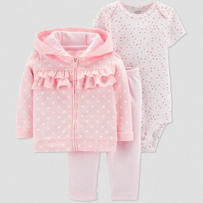 a8abda9c756 Baby Girls  3pc Dot Ruffle Short Sleeve Cotton Cardigan Set - Just One You®  made by carter s Pink 6M