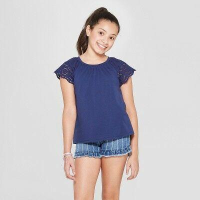 fbdcab6531cb Girls' Short Sleeve Eyelet Sleeve T-Shirt - Cat & Jack™ Navy S