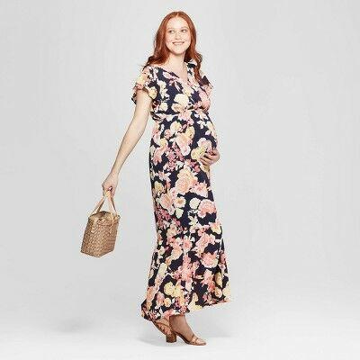 e8f3b5a96bb Maternity Floral Print Flutter Sleeve Maxi Dress - Isabel Maternity by  Ingrid   Isabel™ Navy XL