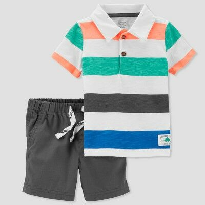3d6a52569 Baby Boys' 2pc Stripe Polo and Shorts Set - Just One You® made by carter's  Blue/Black 6M
