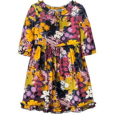 4c0581d04f6cb1 Toddler Girls' Long Sleeve Floral A-Line Dress - Genuine Kids® from OshKosh  Metallic Blue 3T