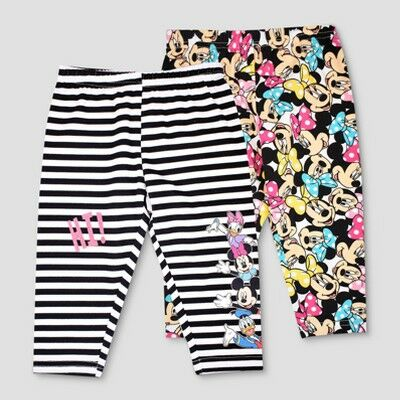 a2296ed42f8d Toddler Girls  2pk Disney Mickey Mouse   Friends Minnie Mouse Leggings -  Black White 12M