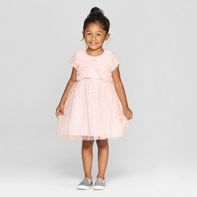 928363c0029 Mia   Mimi Toddler Girls  A Line Dress with Faux Fur Shrug - Pink 3T