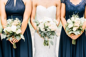 Silk and Chiffon Navy Azazie Bridesmaid Dresses