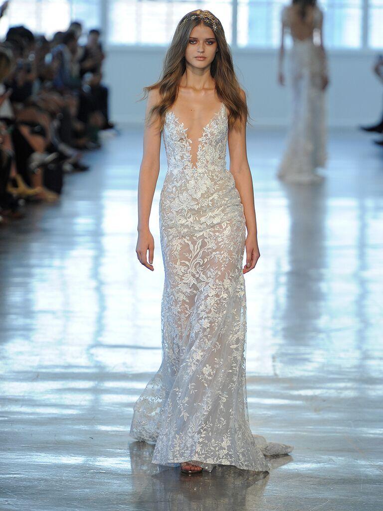 7e9d2b96e01a Berta Fall/Winter 2018 lace wedding dress with spaghetti straps and plunging  neckline