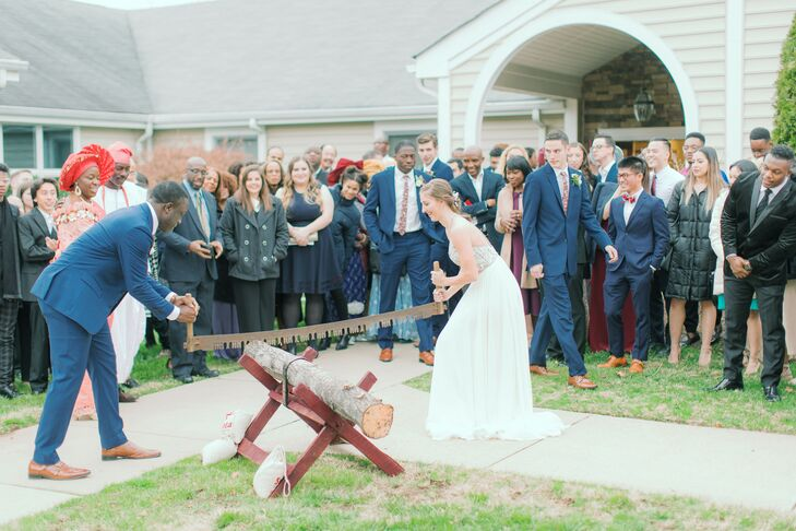 Traditional German Log Cutting at Midlothian, Virginia, Wedding