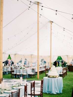 Tented Reception with Chiavari Chairs and Blue Tablecloths