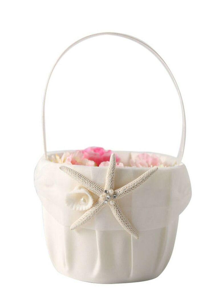 beach-themed ivory flower girl basket