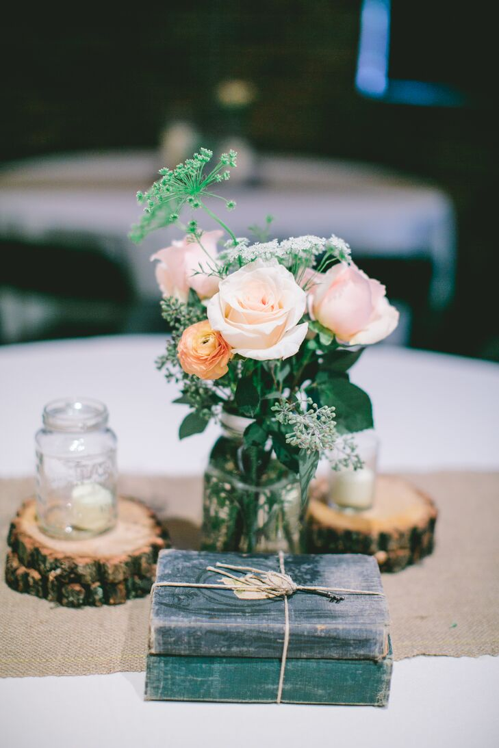 Pink Rose and Vintage Book Centerpiece