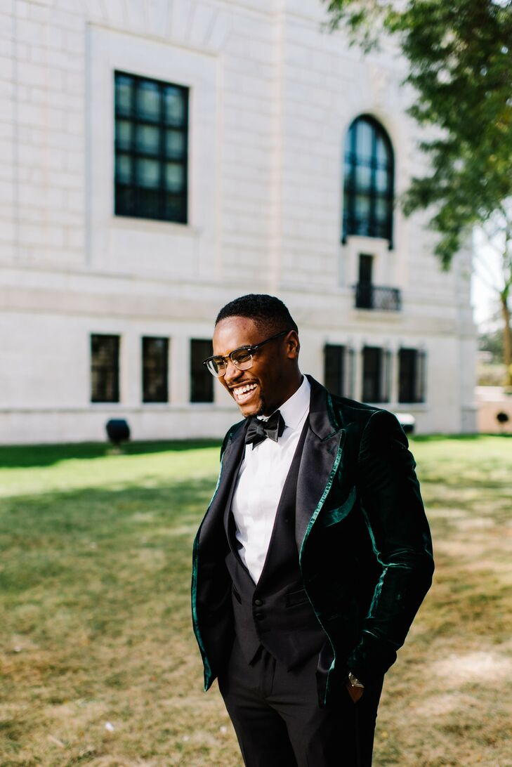 Classic Black Tuxedo with Green Piping and Bow Tie