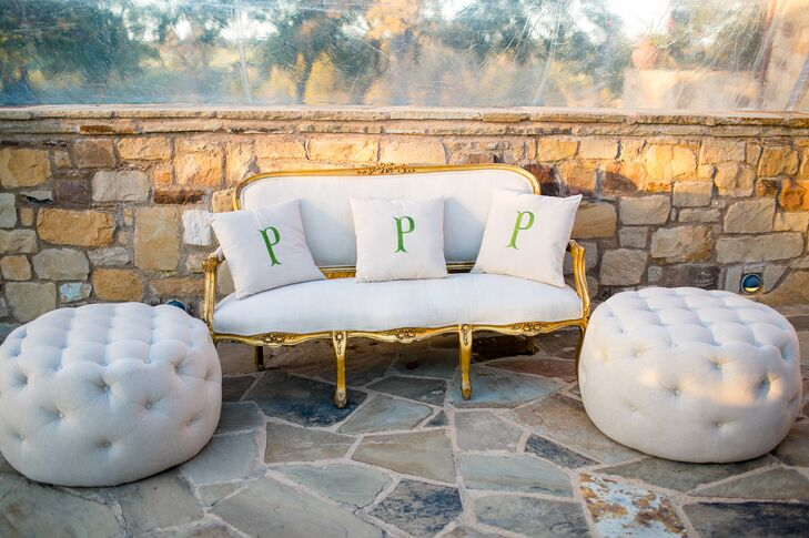 Vintage Gold Settee with Personalized Pillows