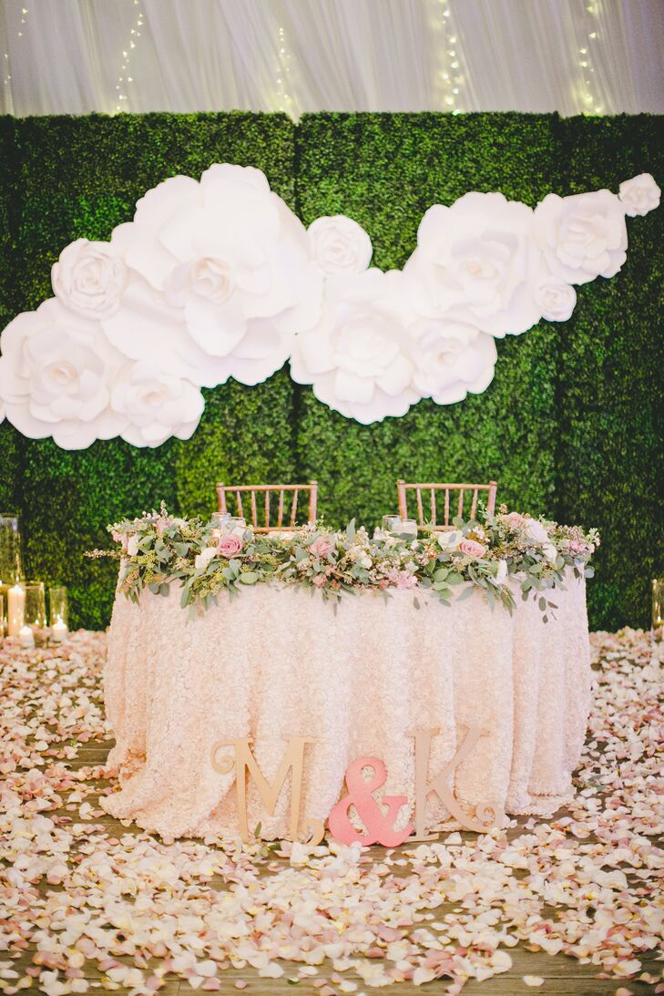Romanic Sweetheart Table With Rose Petals Tered Around